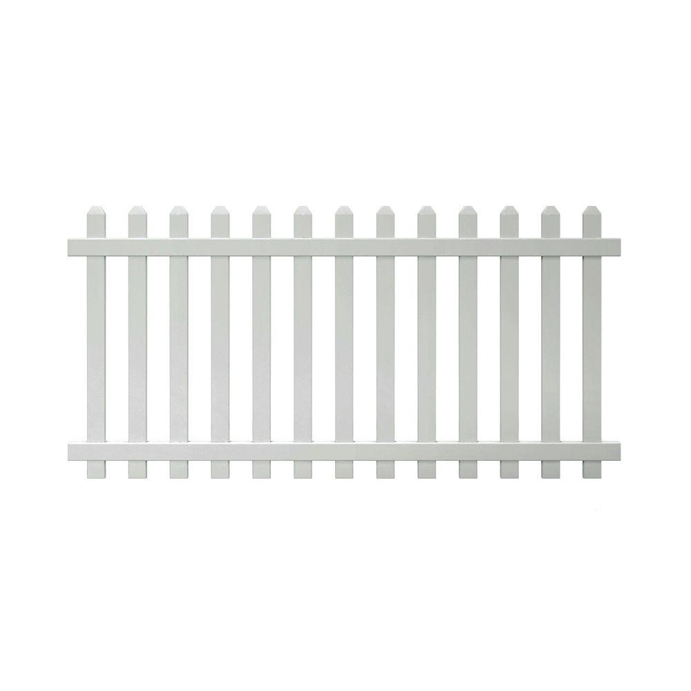 Veranda Glendale 4 Ft H X 8 Ft W White Vinyl Spaced Picket Unassembled Fence Panel With Dog Ear Pickets 152811 The Home Depot Vinyl Picket Fence Picket Fence Panels White Vinyl Fence