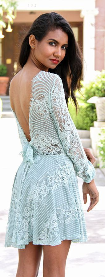 Mint Lace Little Dress by Tuolomee
