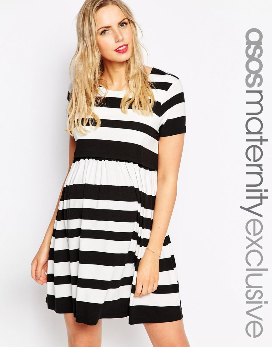 Image 1 of asos maternity nursing double layer skater dress in image 1 of asos maternity nursing double layer skater dress in stripe ombrellifo Image collections