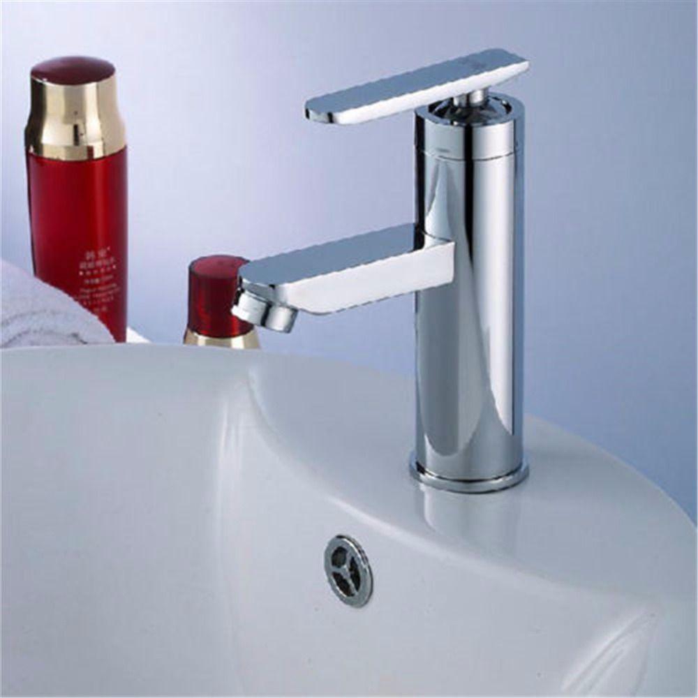 Faucet Chrome Finish Deck Mounted Basin Sink Faucet Mixer Tap ...