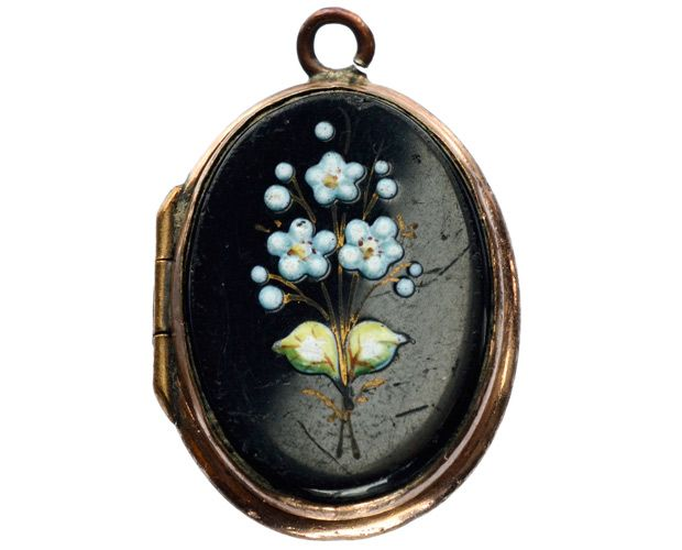 1890s Enamel Flower Black Amethyst Locket, Gold Filled, Prob. French : Erie Basin Antiques