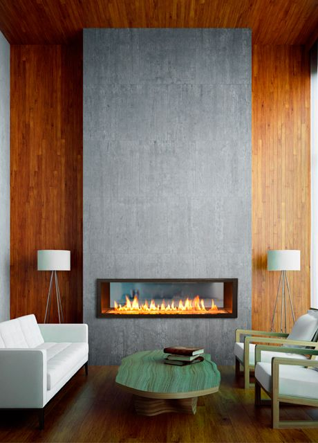 Country fireplace and Linear fireplace