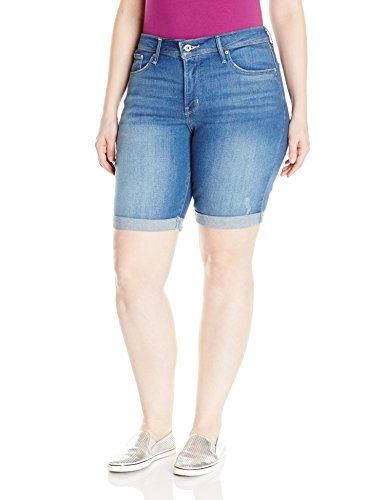 85792be4 Levis Womens PlusSize 512 Perfectly Shaping Bermuda Short Bright Pass with  Destruction 20 Plus ** Click image to review more details.