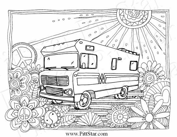 Instant Download Wimsical Winnebago Motorhome Printable Coloring Page In 2021 Unicorn Coloring Pages Coloring Pages Pattern Coloring Pages