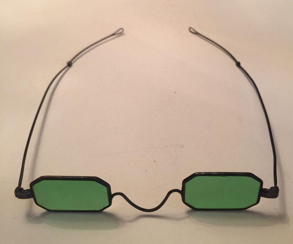 e5396fb565f5 Antique 1800's Civil War Green Lens Railway Railroad Eyeglasses Spectacles  #Unknown