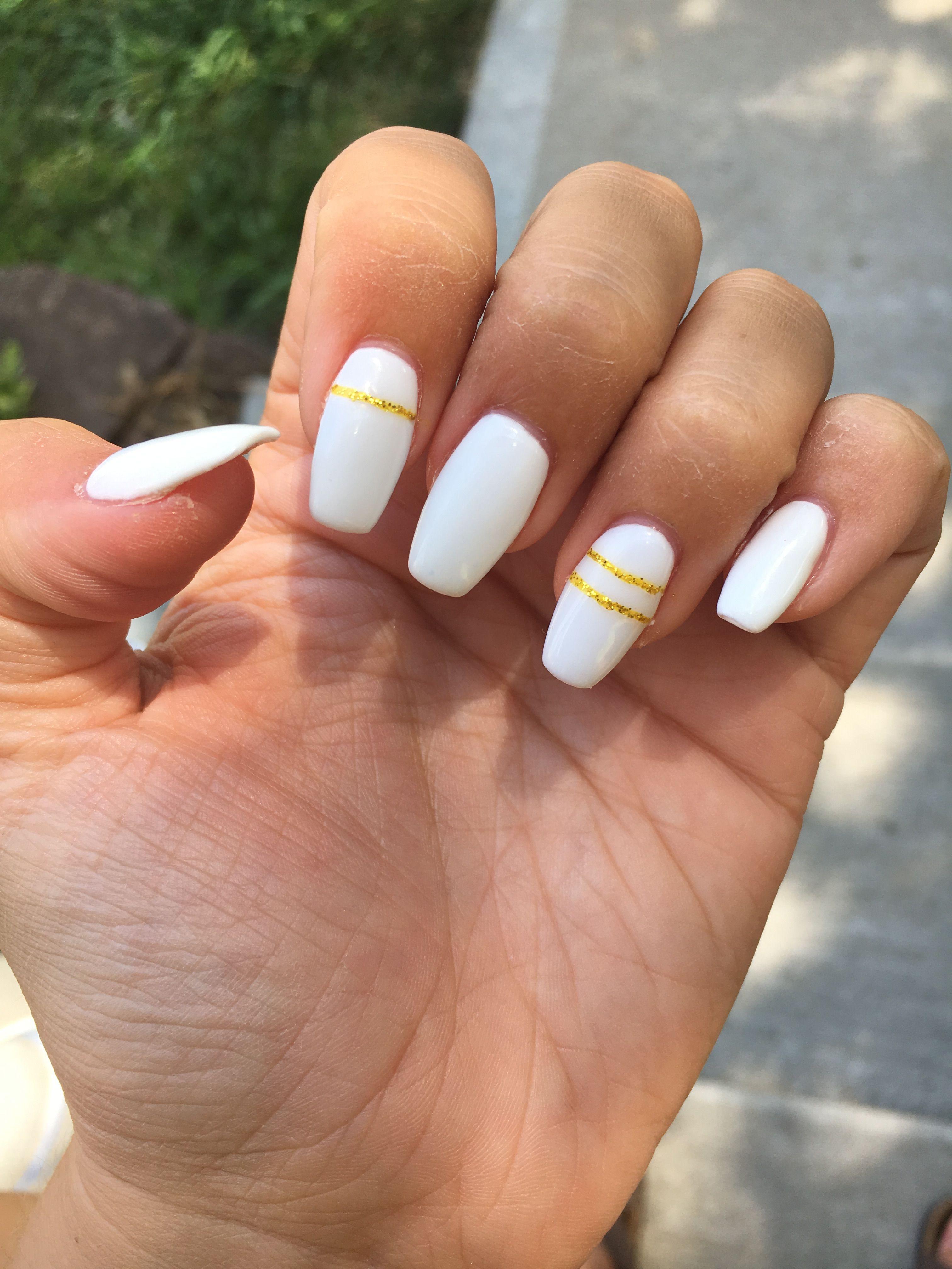 Acrylics Nails Design White Gold Glitter Glam Coffin