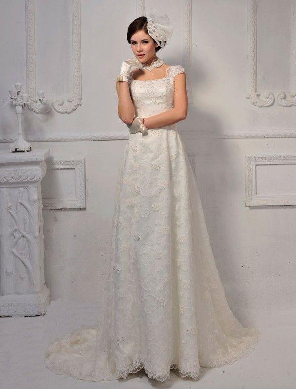 Lace Bateau Neckline Sheath Wedding Dress with Cap Sleeves ...