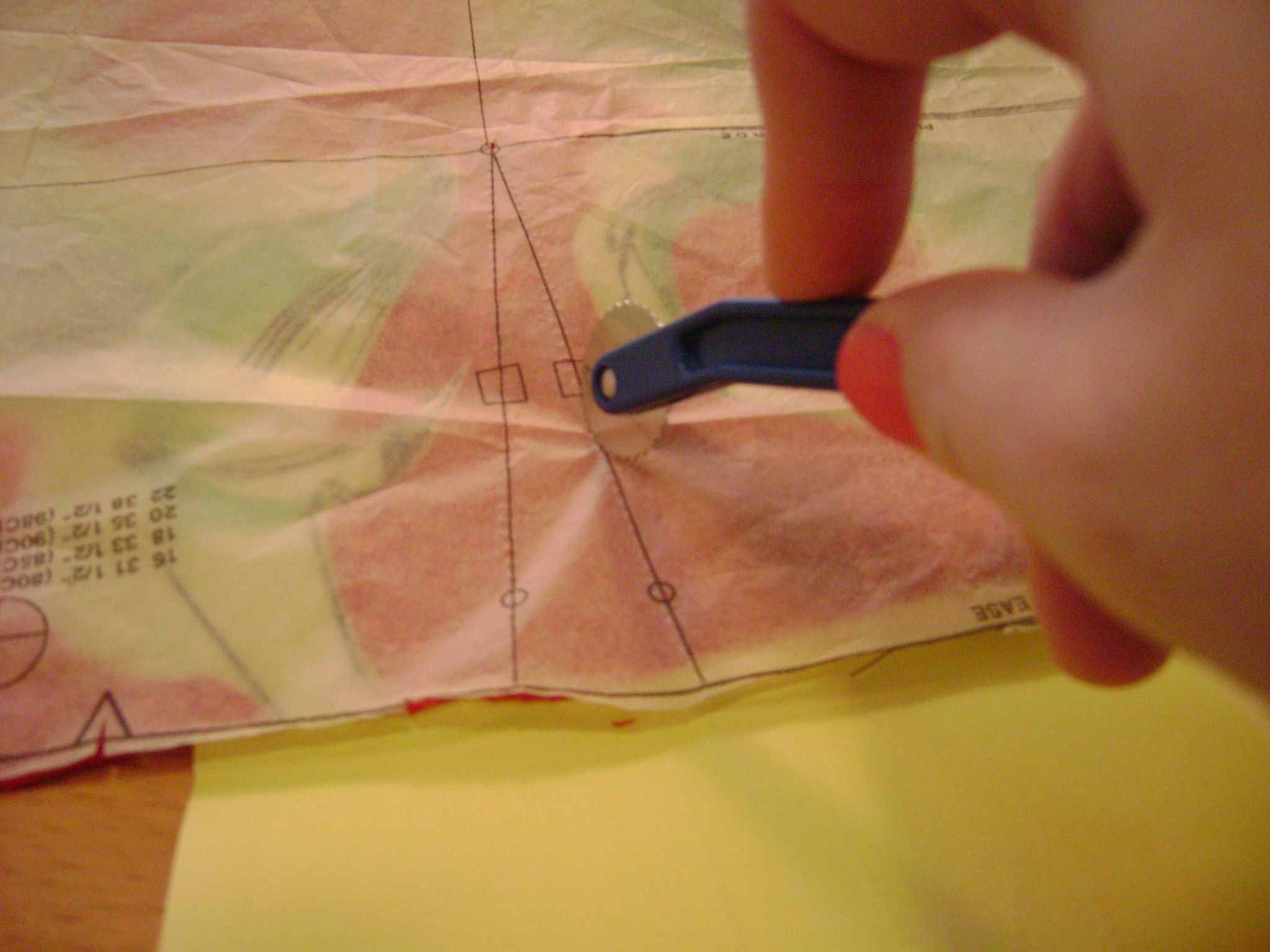 Fabric Marking Using A Tracing Paper And A Tracing Wheel Sewing