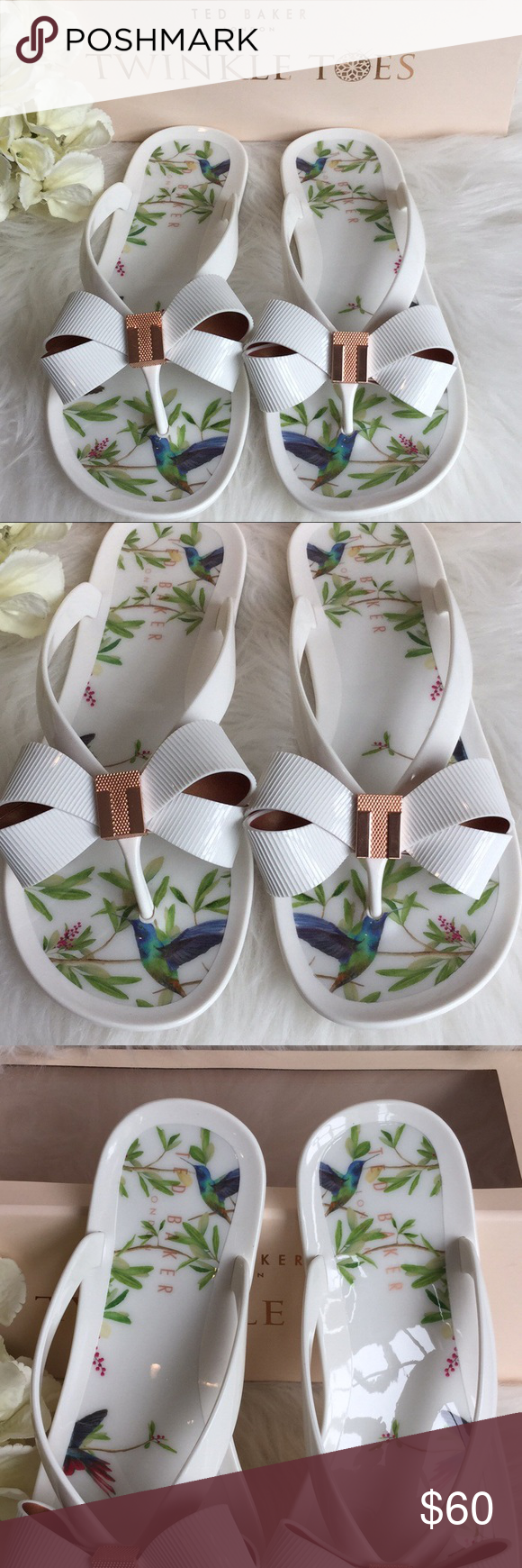7913f779f 🆕Ted Baker Susziep Hummingbird Jelly Sandals NWT Adorable rubber flip flops  from Ted Baker London with cute floral and hummingbird design. New with box.