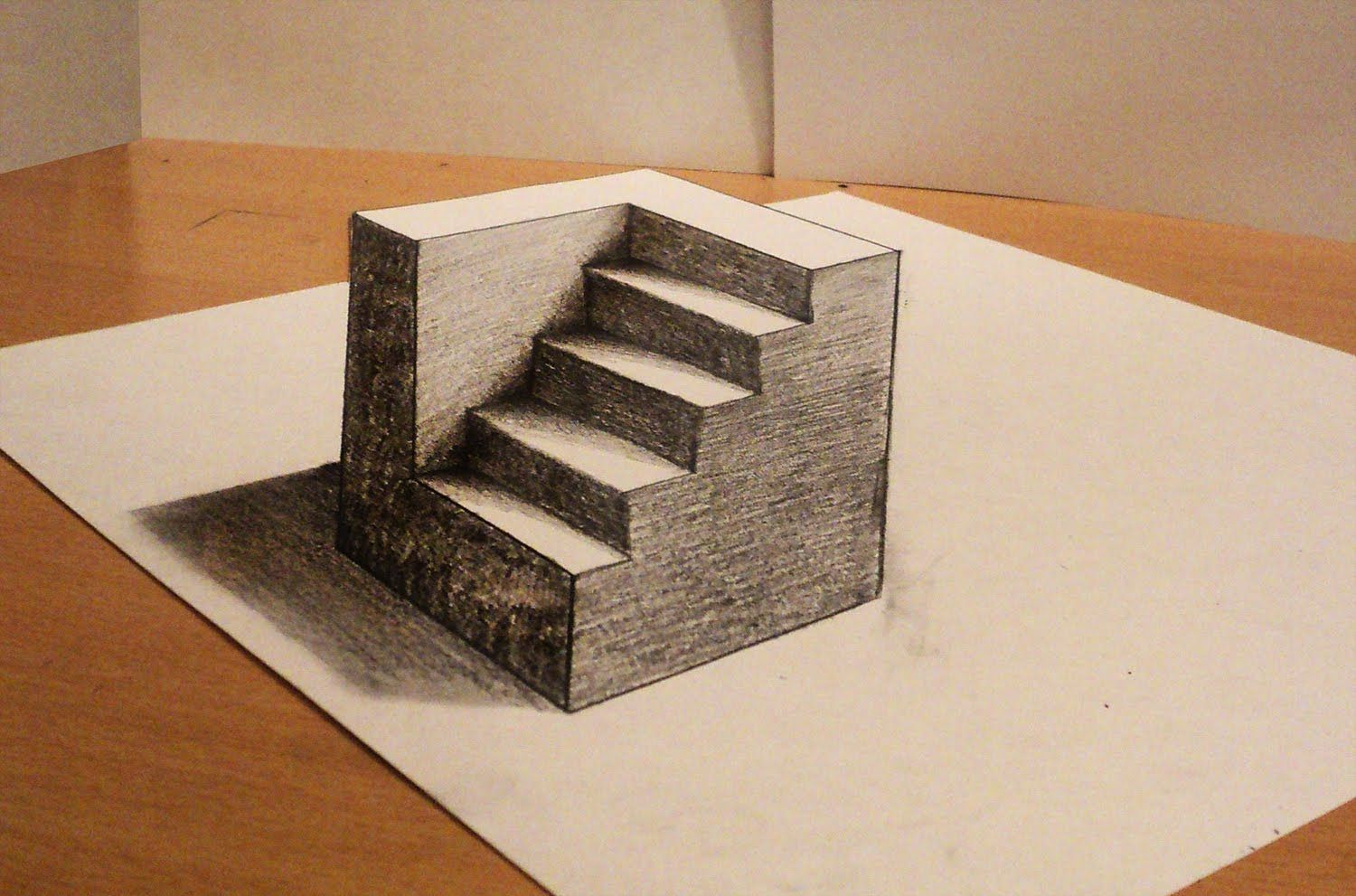 How to draw 3d cube with stairs anamorphic drawing optical illusion
