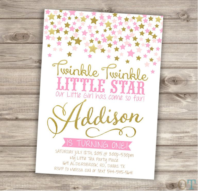 Twinkle Twinkle Little Star Confetti Birthday Invitations Pink