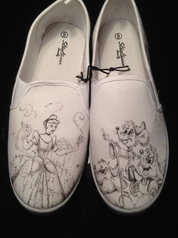 Cinderella Inspired Custom Hand Drawn Shoes is part of Shoes - These Cinderella  inspired hand drawn canvas shoes are truly unique and perfect for a true Disney fan, either yourself or as a gift  These particular shoes are a generic brand women's size 9 but I can recreate the design for you on the shoe style and size of your choice  Or, if you prefer, I will be happy to work with you to come up with a design style for your very own personalized shoes   Any canvas shoe will work including TOMS, VANS, or BOBS (design possibilities and price may vary depending on shoe style) Once your order has been placed and paid for the shoes will be purchased and work will begin on your shoes! All my shoes are hand painted or drawn using high quality acrylic paints or artists pens and sealed with a water resistant finish  All sales are final My artwork is in no way associated, endorsed by, or in any way connected with the Walt Disney Company, Disney Enterprises, Inc , or any of its subsidiaries or its affiliates  Any trademark characters are not owned by Nevernevershoes, and are simply the artists interpretation of the characters based on the customer's request