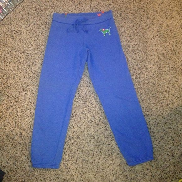 PINK Victoria's Secret size XS blue sweats. PINK Victoria's Secret size XS blue sweats. The inside fuz isn't as plush as it used to be and shows some minimal wear. See picture 4! PINK Victoria's Secret Pants