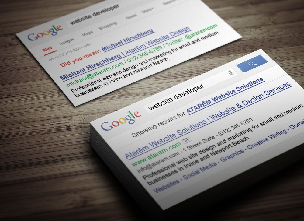 Google Themed Business Card Template Suitable For Any Type Of - Website business card template