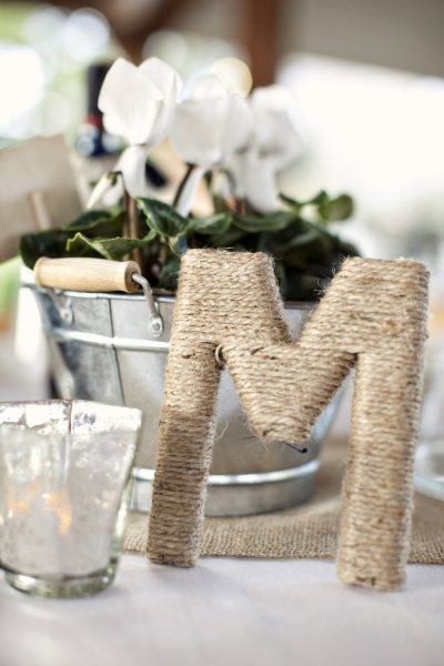 jute wrapped initials