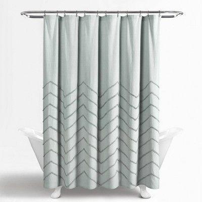 Chenille Chevron Shower Curtain Pastel Blue Lush Decor