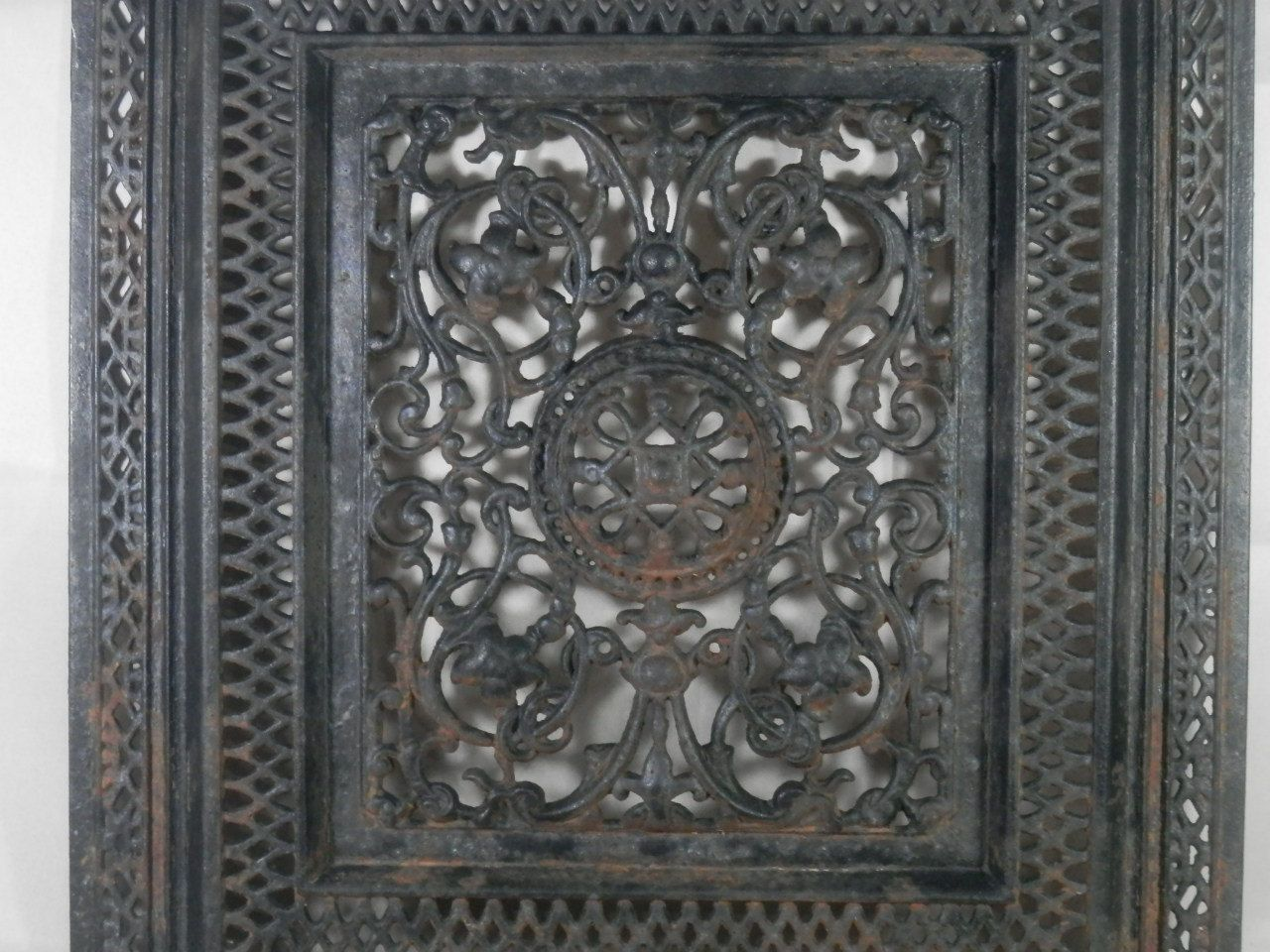 vintage cast iron fireplace summer cover ornate screen decorative