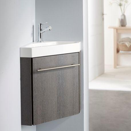 Lave-mains d\u0027angle complet avec meuble moderne couleur wengé