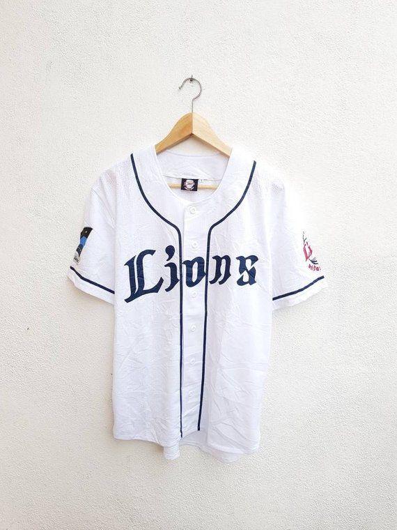 264f7bd05c Vintage 90s Saitama Seibu Lions Japan Baseball Printed Logo Jersey ...