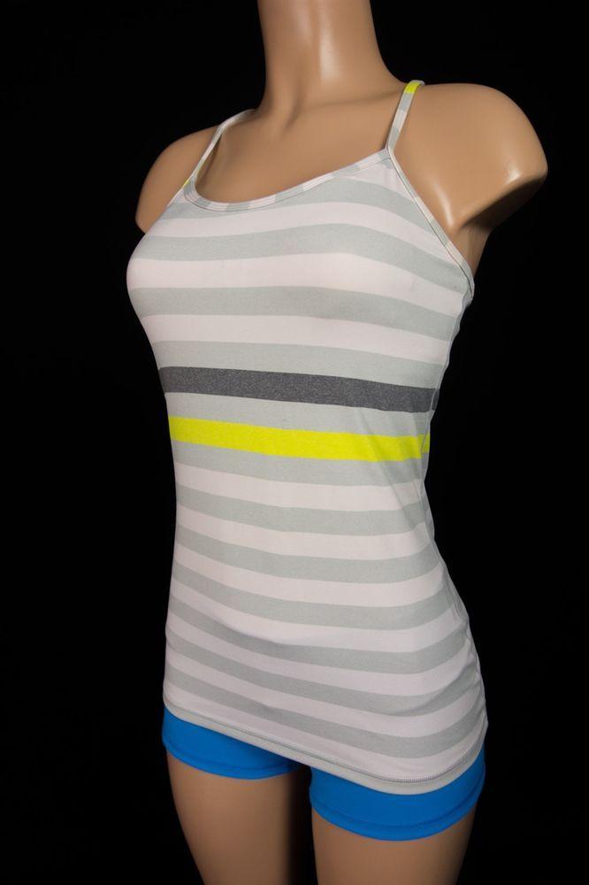 LULULEMON Power Y Tank 6 S Small Gray Pink Yellow Striped Run Top Yoga #Lululemon #SportsBrasBraTops
