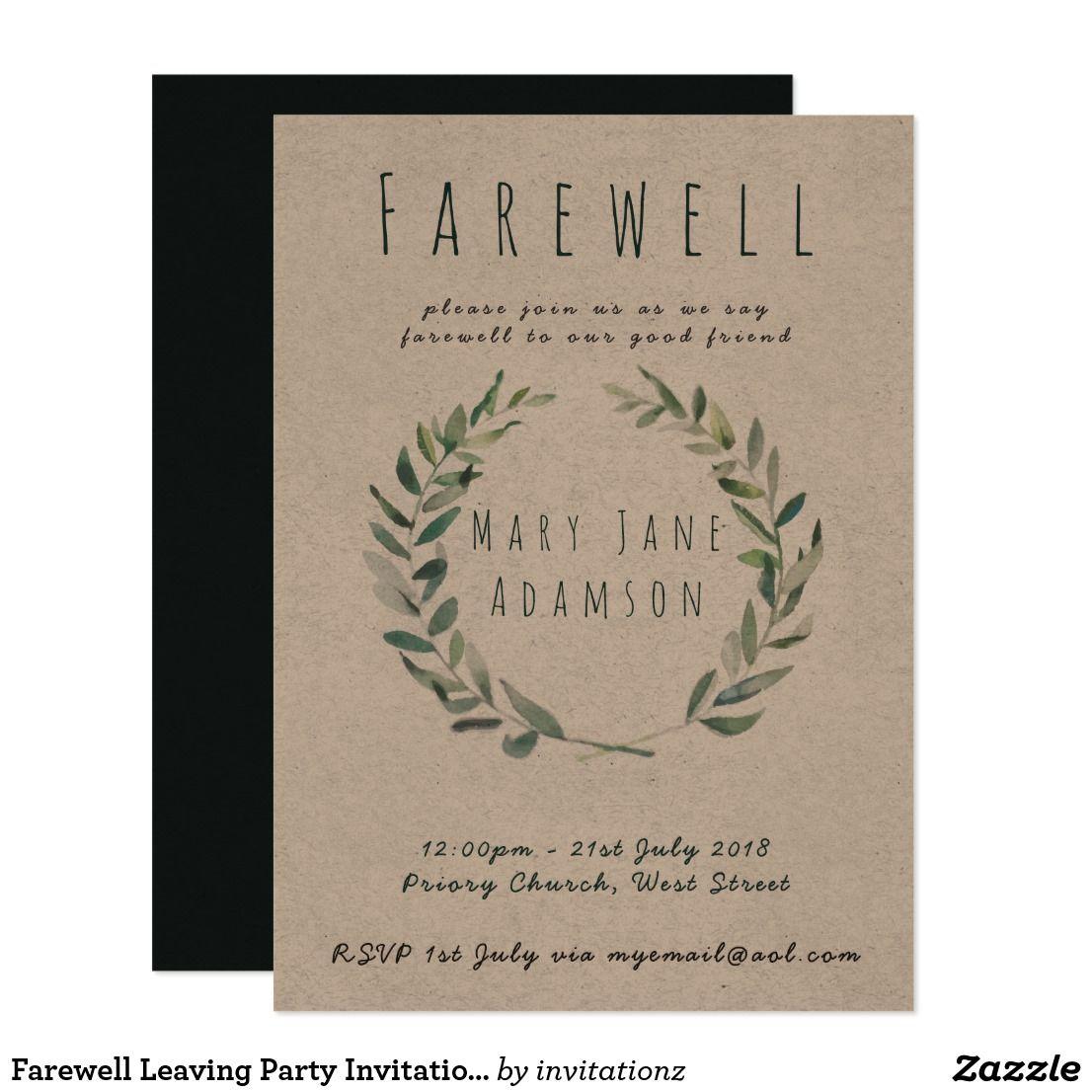 Farewell Leaving Party Invitation Botanical Kraft   Generators