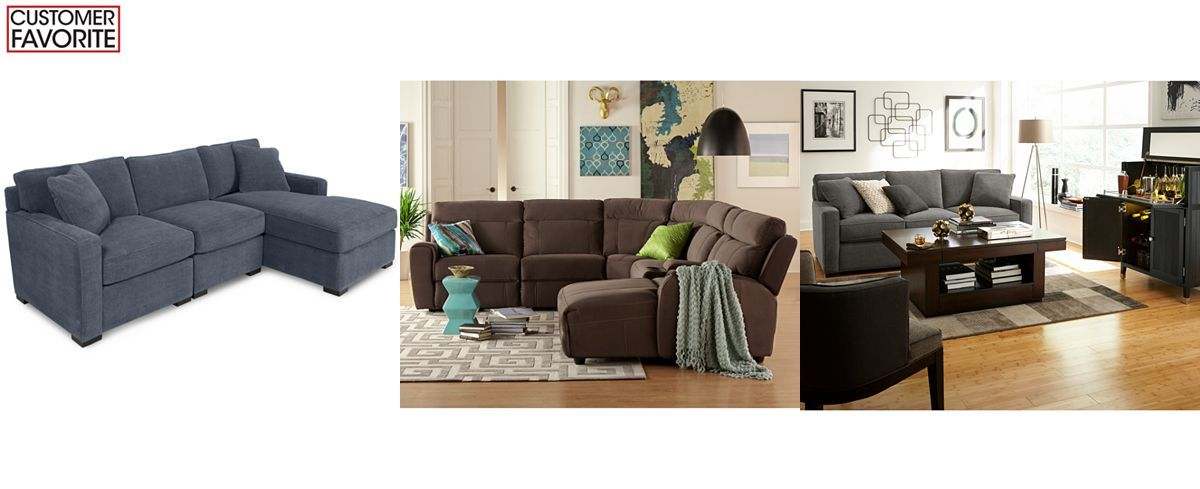 Radley 3-Piece Fabric Chaise Sectional Sofa: Custom Colors - Couches & Sofas - Furniture - Macy's