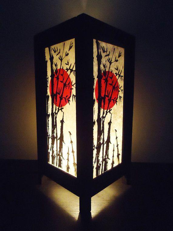 Asian Oriental Bamboo Sunset Japanese Lamp Zen Bedside