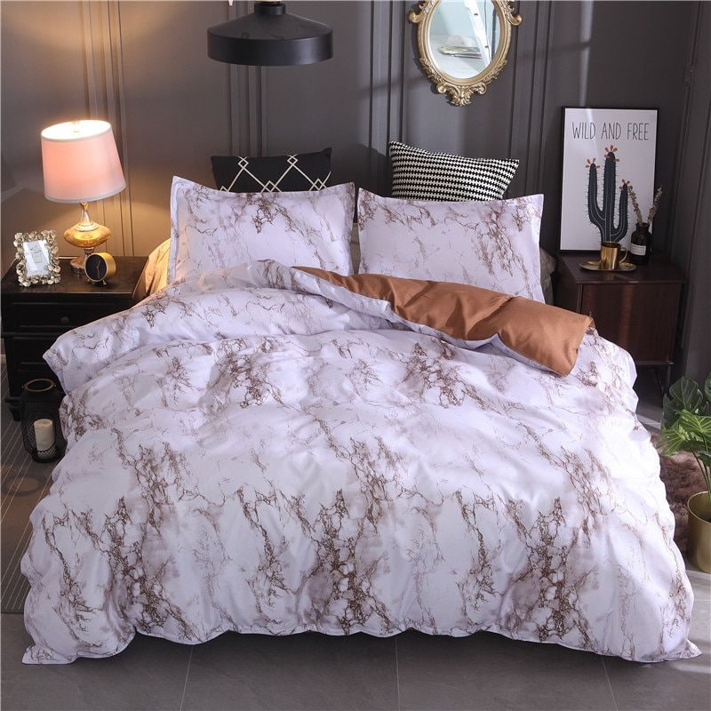 Coffee Secrets Home Decor Marble Bed Set Patterned Bedding Sets Marble Duvet Cover