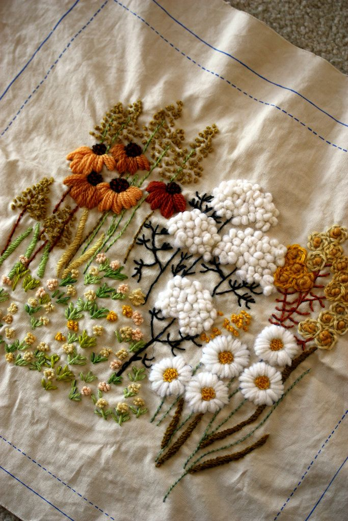 Crewel Embroidery Pillow Embroidery Embroidered Flowers And