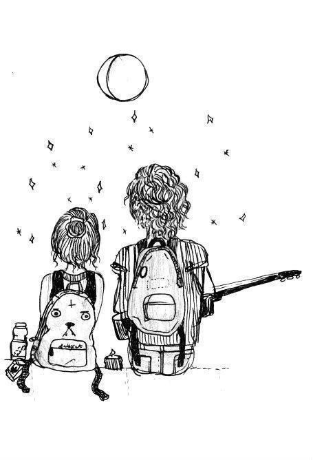 Love Couple And Stars Image Hipster Drawings Tumblr Coloring Pages Cute Art