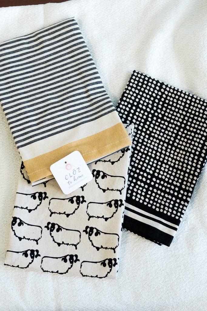 Cotton Tea Towels Set Of 3 Black And White Cotton Tea Towels