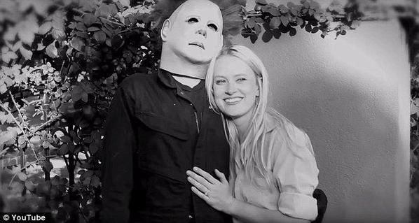 Creepy but oddly touching #MichaelMyers/Halloween wedding proposal