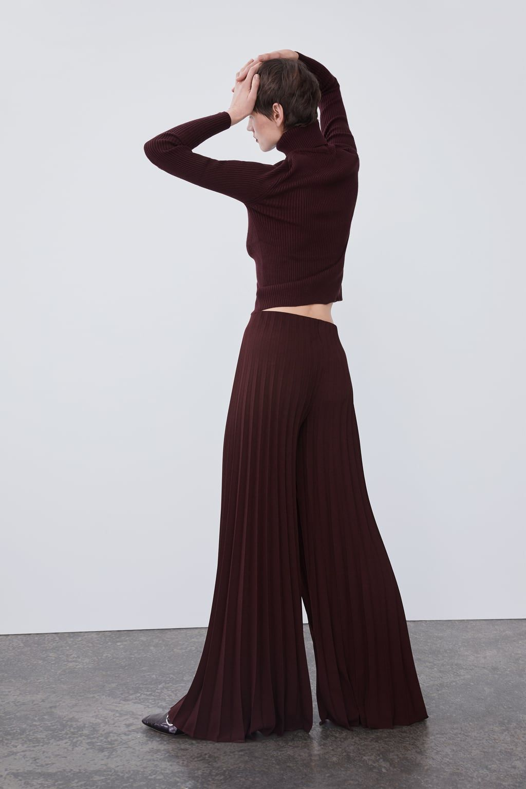 pantalon plissé femme zara