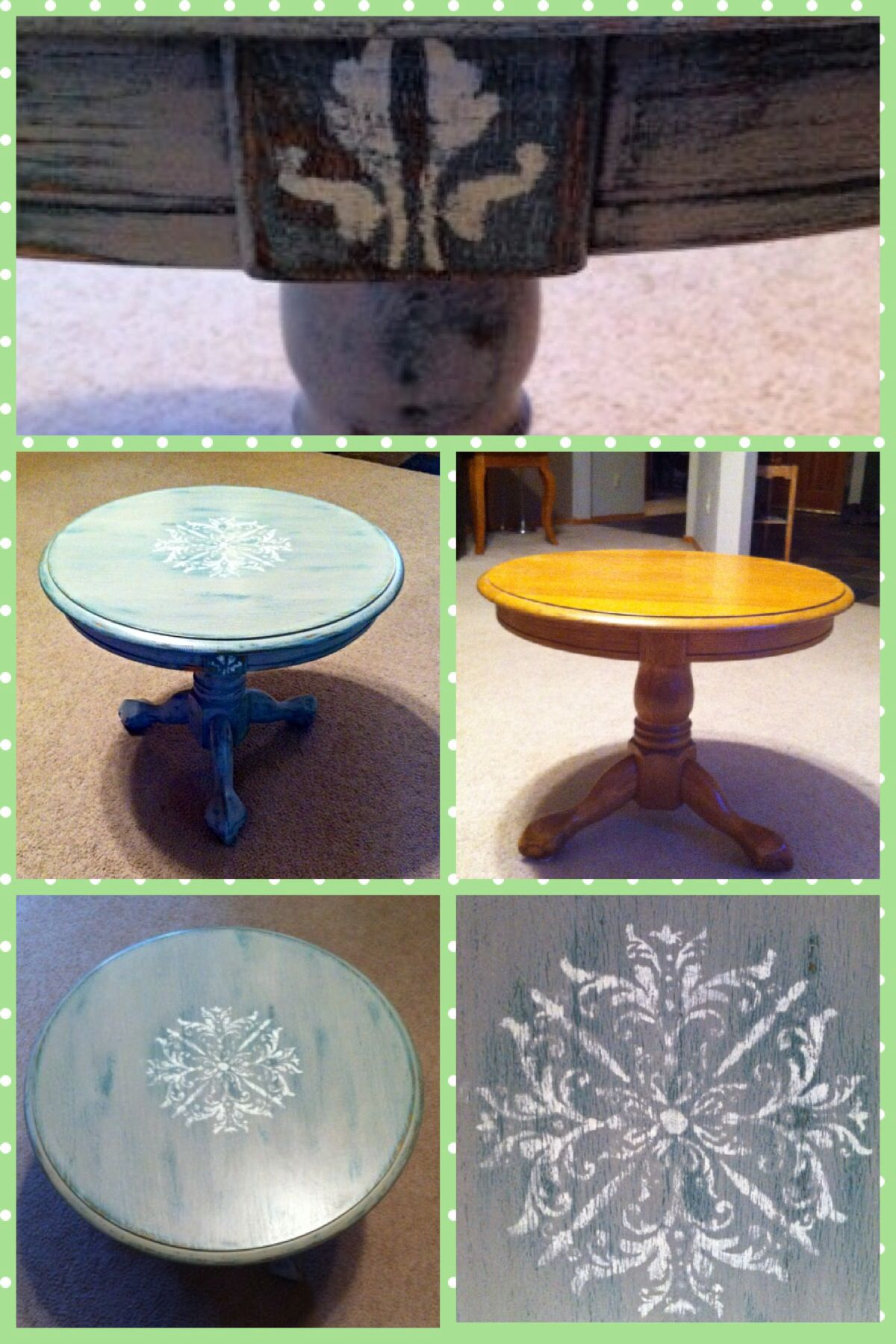 Small pedestal table Makeover with layered chalk paint with crest stencil. Wet and dry distressed and waxed. #stenciledchalkpaintpedestal