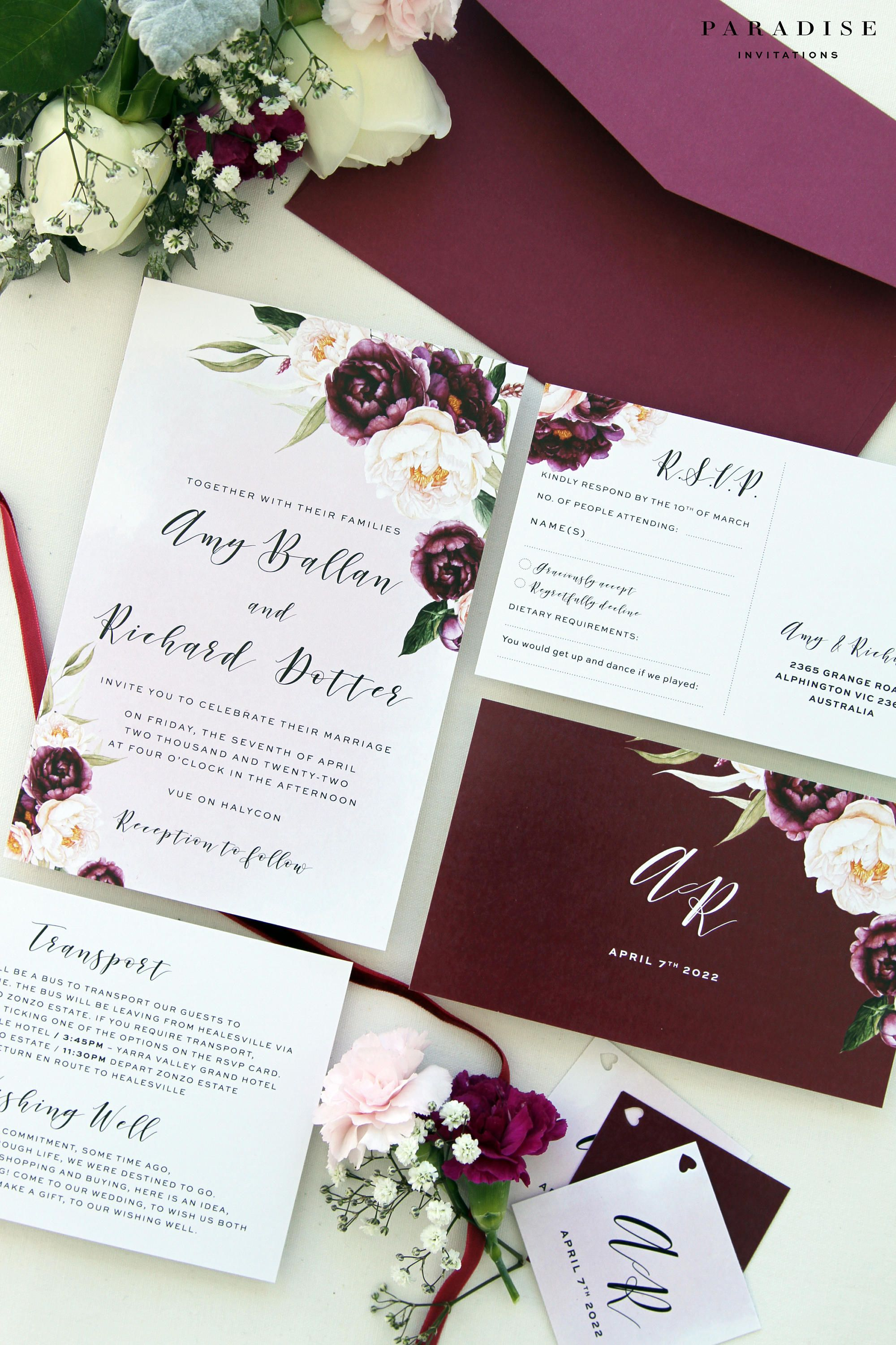 Margarette Burgundy Wedding Invitation Sets, Printable Invitations ...