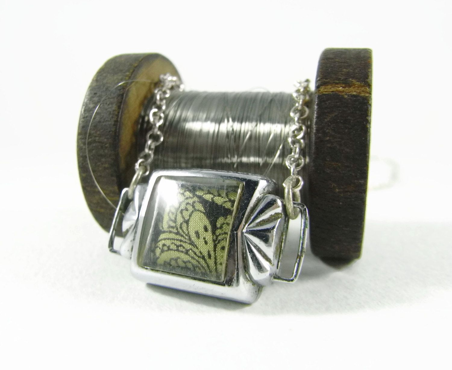 Upcycled Art Deco cocktail watch case pendant: Liberty of London Grayson Perry…