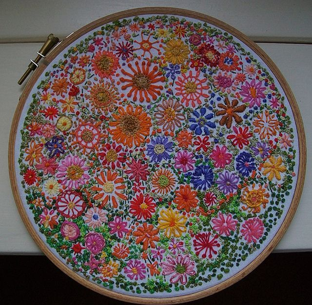 Gorgeous embroidery. Cacophony  A new floral circle. 18cm. diameter. (7 inches) -- dozydotes on flicker