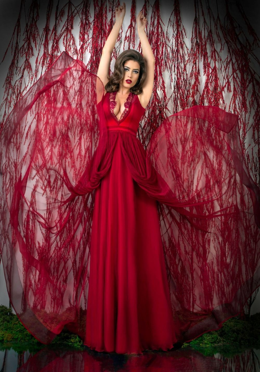 Custom made vestido lace long red evening gowns v neck sheer