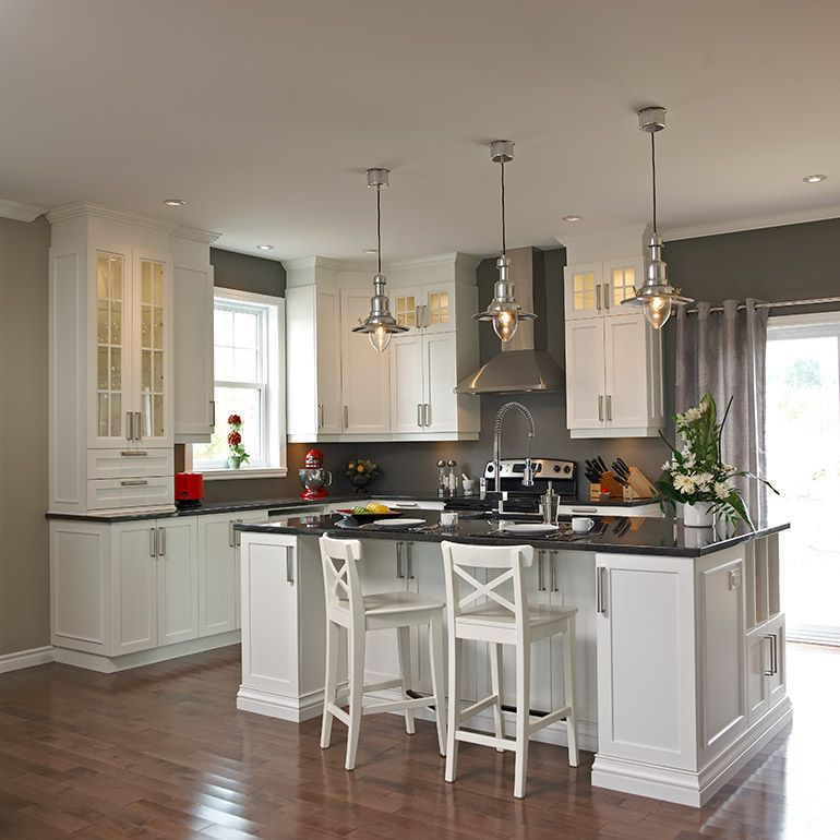 armoires de cuisine en melamine polyester et comptoir de granit maisons pinterest armoires. Black Bedroom Furniture Sets. Home Design Ideas