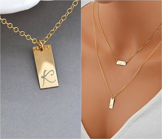 Tag Necklace, Personalized Necklace Gold or Silver, Delicate Minimal Jewelry, Simple Initial Necklace -   - #daintyjewelry #delicate #Gold #handmadejewelry #initial #jewelry #jewelryaesthetic #jewelrybracelets #jewelryorganizer #jewelrysimple #jewelrytrends #minimal #necklace #personalized #silver #simple #Tag