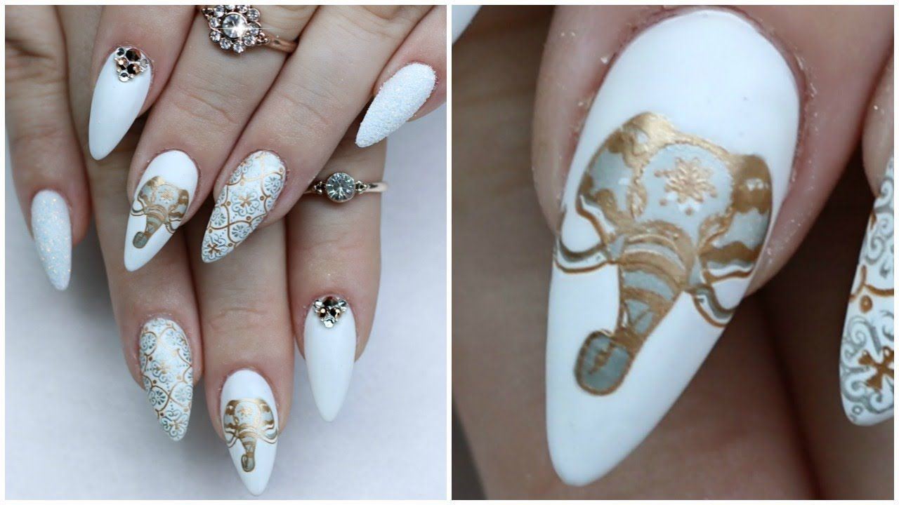 Elephant Themed Nails Full Tutorial Gel Fill Youtube Elephant Nails Nails Design With Rhinestones Gel Nail Tutorial