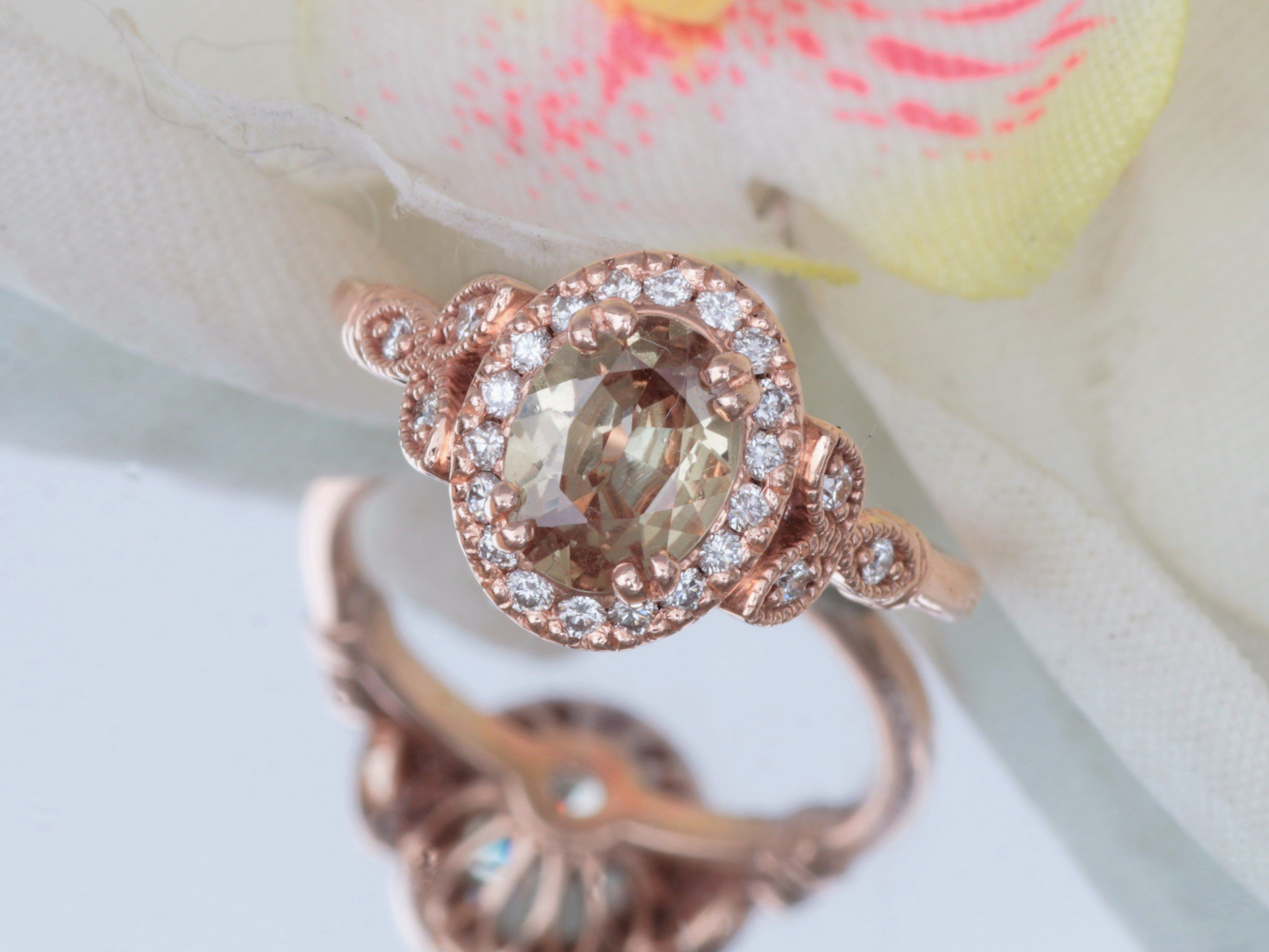 sapphire halo pink gold rose diamond engagement fresh peach champagne certified ring of elegant colored