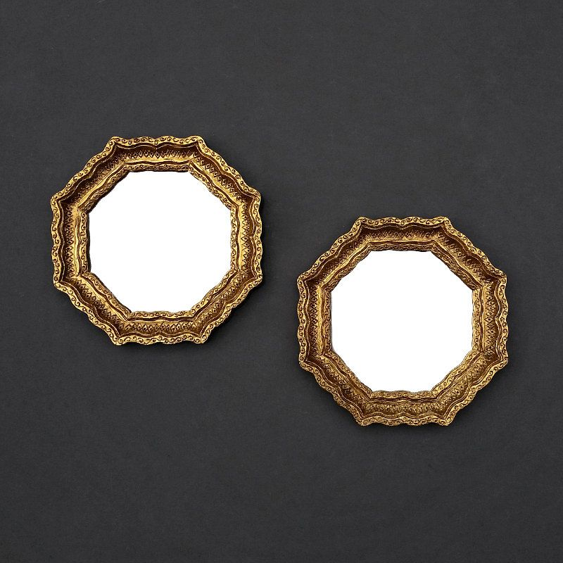 Small gold vintage mirrors octagon accent mirrors set for Small gold mirror