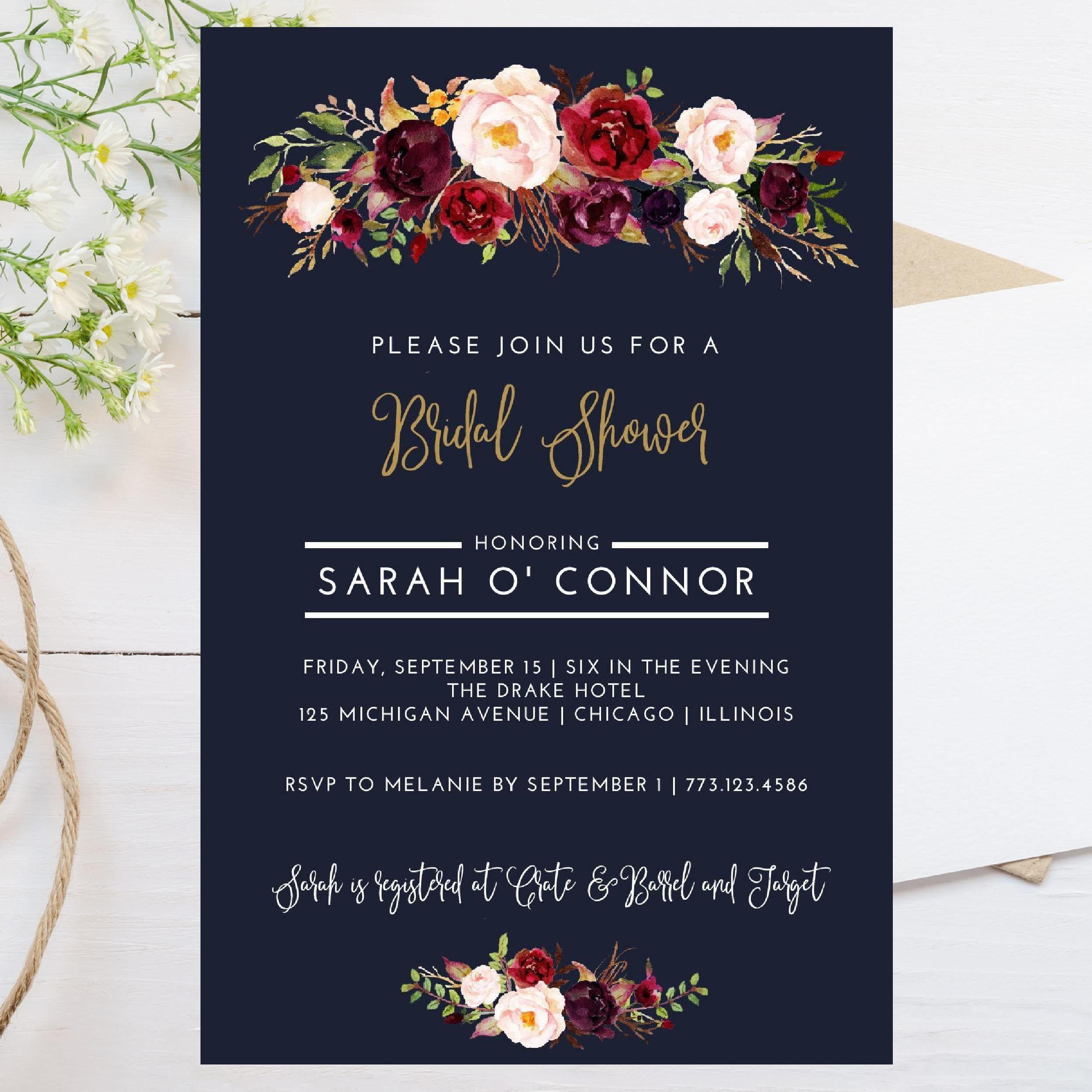 Digital 4x6 Fall Theme Bridal Shower Invitation Dark Navy Blue Maroon Burgundy Watercolor Elegant Invite Wedding Template By