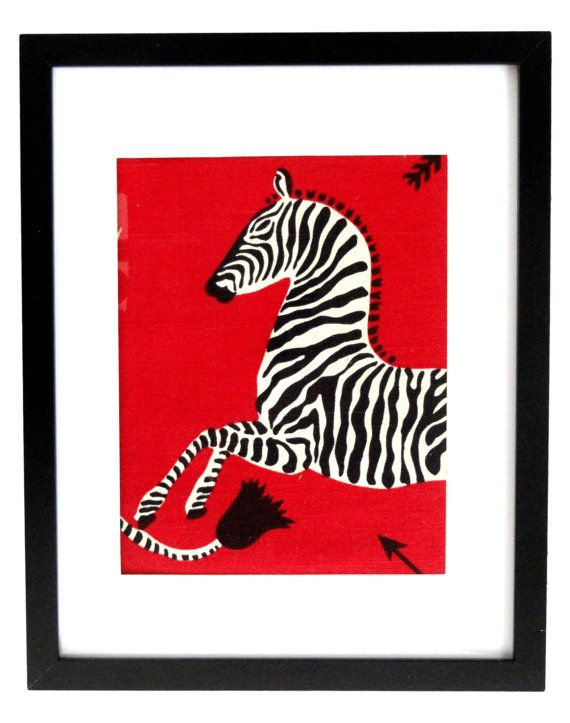 Red Scalamandre Zebra Fabric For Framing 8x10 By