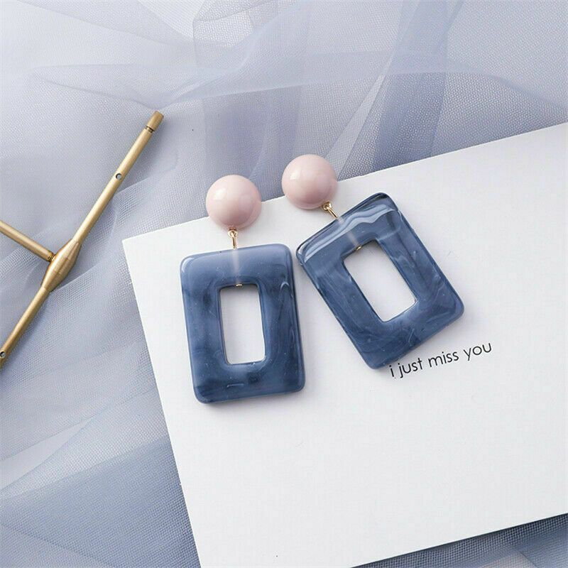 Fashion Women Statement Boho Geometric Acrylic Metal Stud Dangle Drop Earrings – #20 Blue