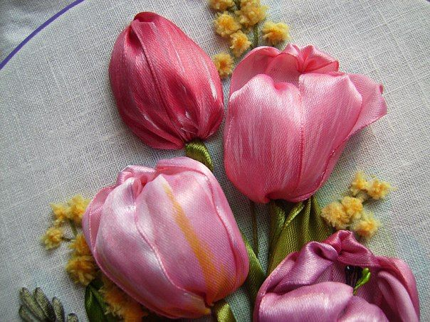 Pink Tulips ribbon embroidery