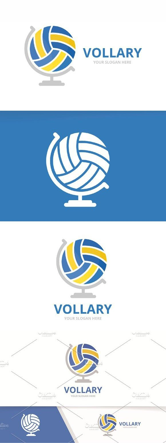 Vector Volleyball And Globe Logo Globe Logo Logos Professional Logo Design