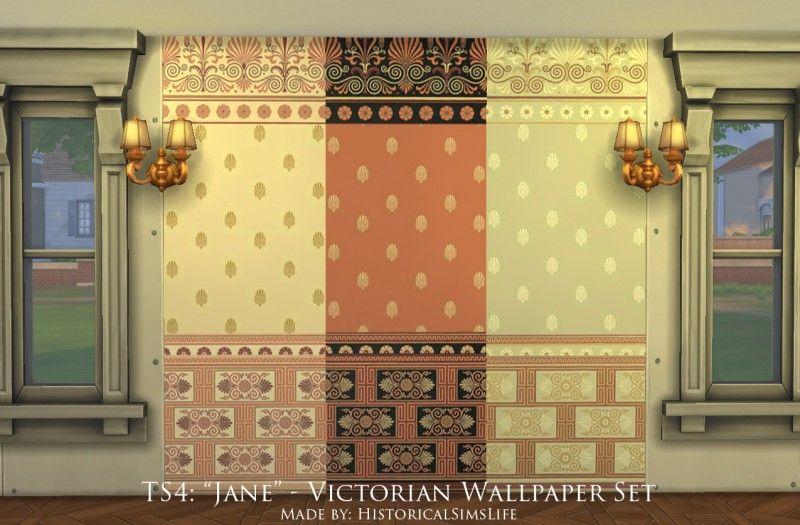 Sims 4 Victorian Wallpaper Set Victorian wallpaper