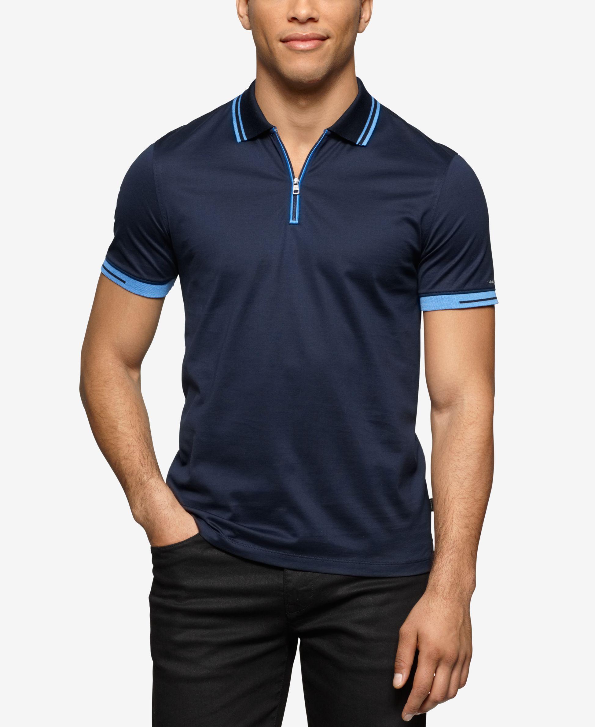 Calvin Klein Men's Slim-Fit Quarter-Zip Polo - Polos - Men - Macy's